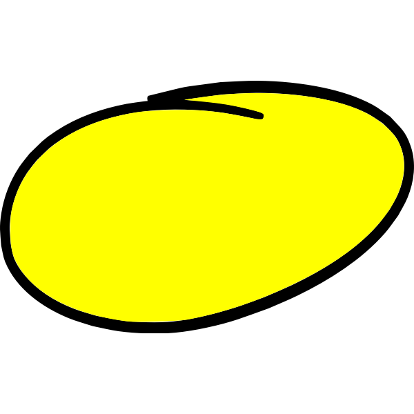 Hand-written circle in yellow color
