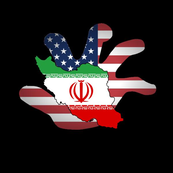 Hands Off Iran poster vector image