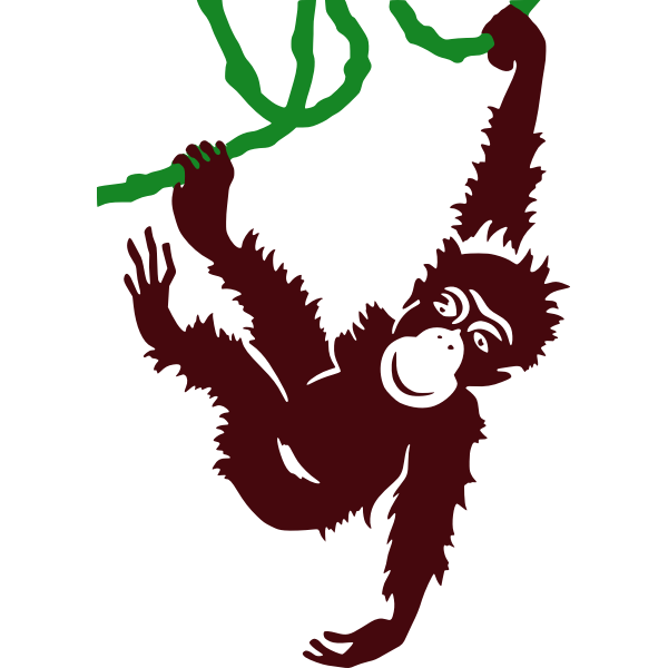 Hanging monkey vector clip art