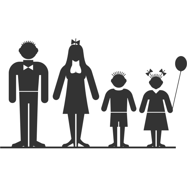 Family of four members vector clip art