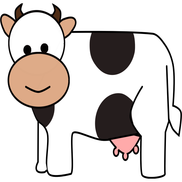 Color cartoon cow vector drawing