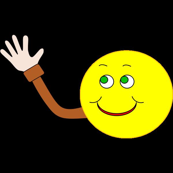 Vector image of happy smiley waving