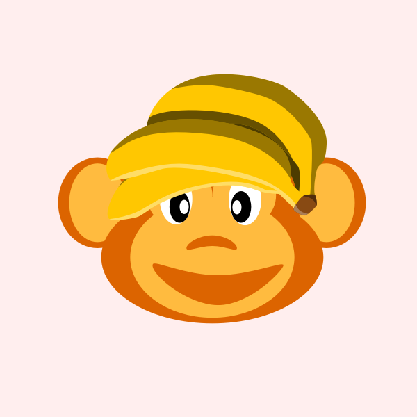 Image of happy monkey with banana on its head