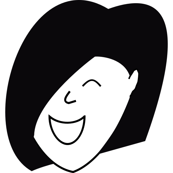 Happy woman with hair over one eye vector illustration