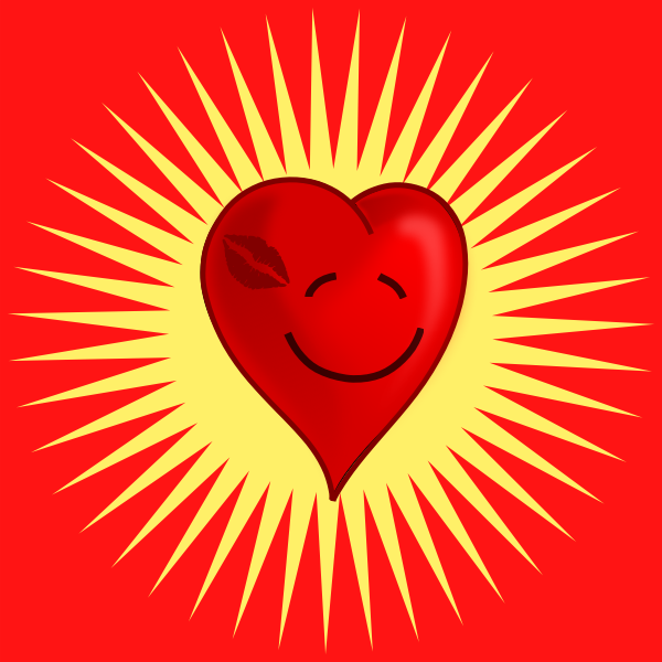 Happy kissed heart vector graphics