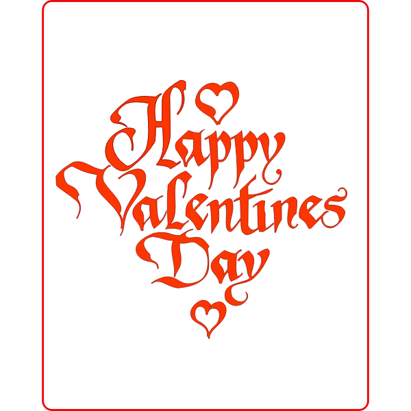 Happy Valentines's sign in a winding font vector drawing