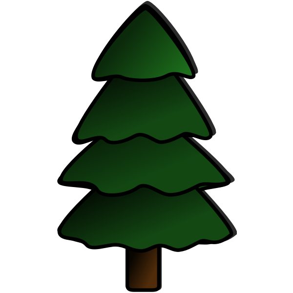 Christmas Tree Colored Vector Drawing