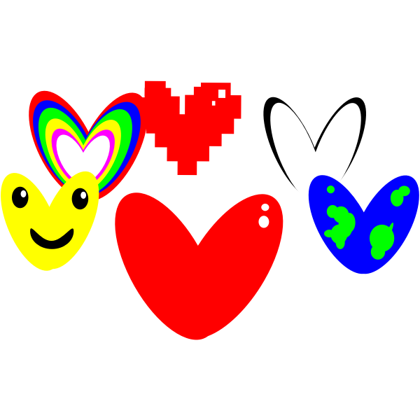 Set of hearts vector drawing