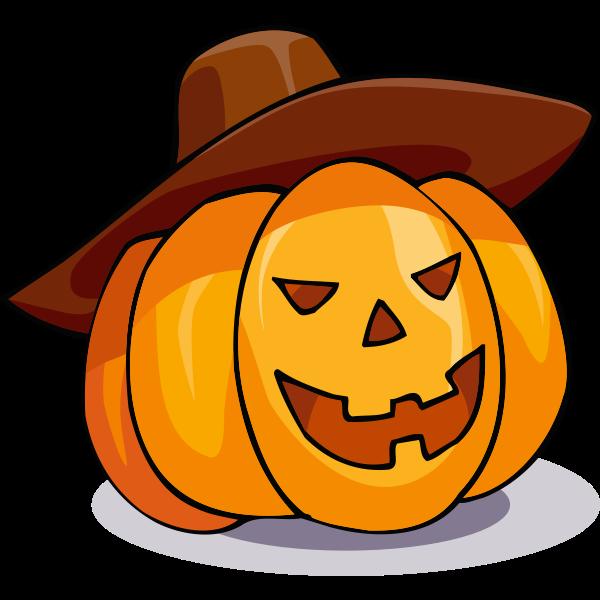 Halloween pumpkin with a sombrero vector drawing