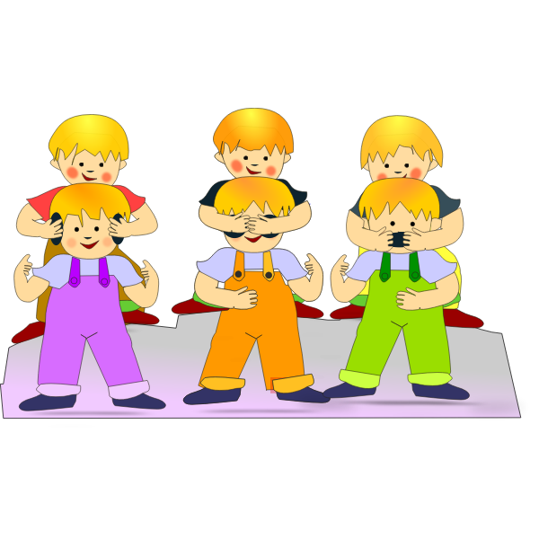 Kids playing by hiding eyes vector clip art