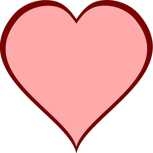 Pink heart with red thick line border vector image