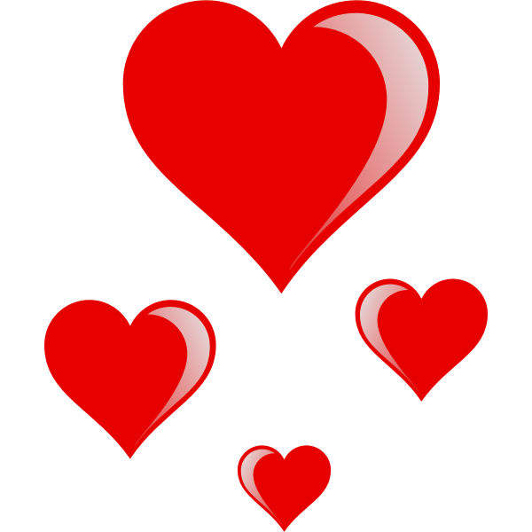 Vector drawing of  glossy hearts