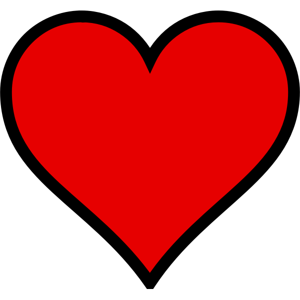 Red heart with black outline