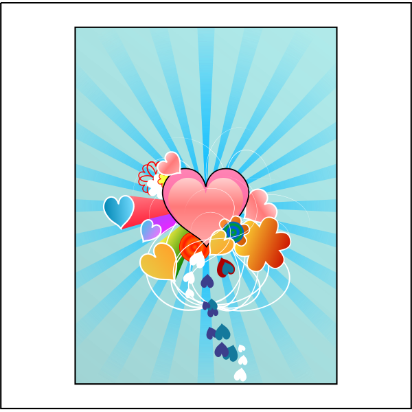 Hearts with Blue Rays Vector