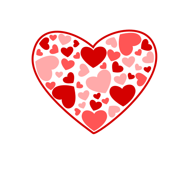 Vector image of heart made out of many small hearts