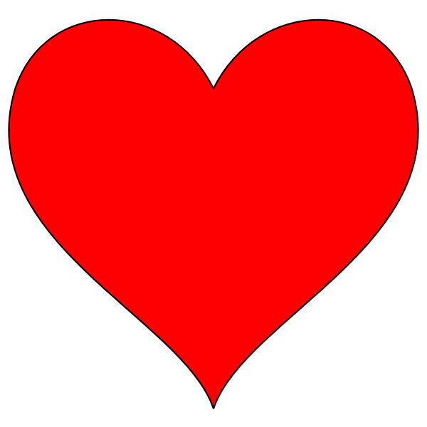 Red heart with thin border vector image