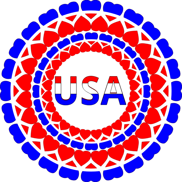 Word USA in heart circles vector image