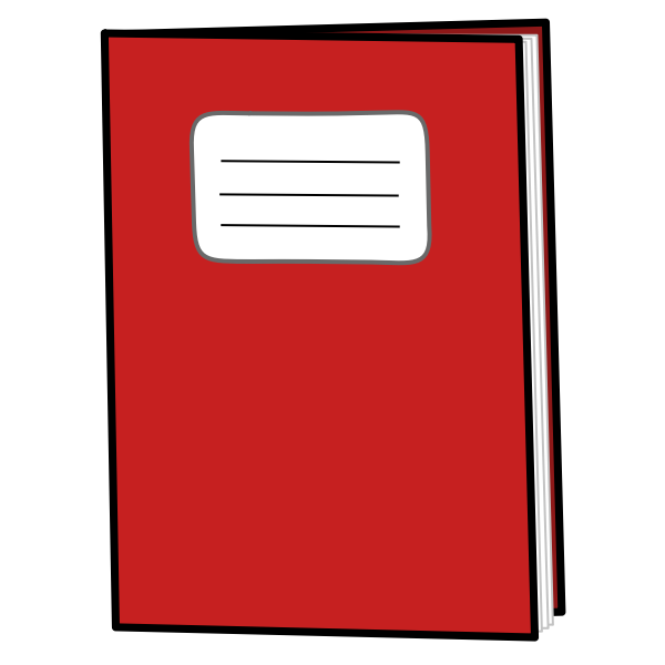 Red exercise book vector drawing