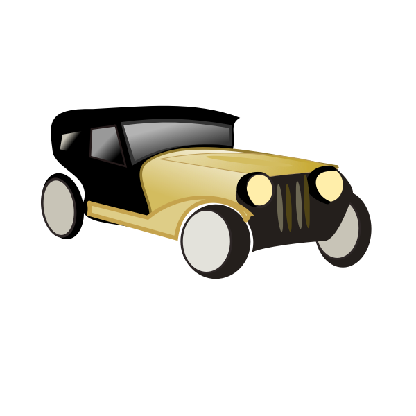 Old car cartoon vector drawing