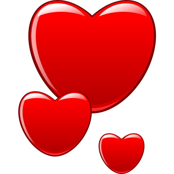 Vector clip art of glossy red hearts