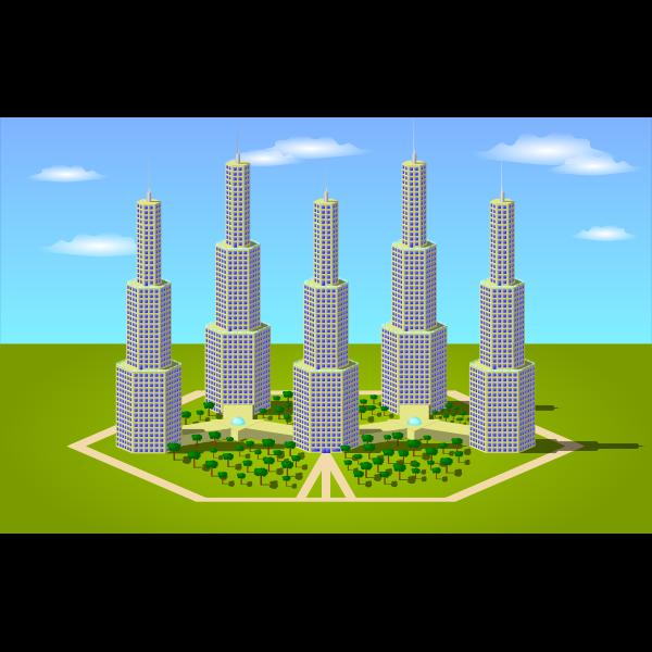 Vector image of city condo concept