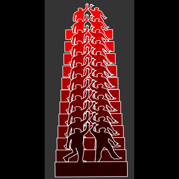 Vector clip art of high five red remix