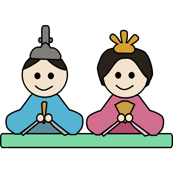 Vector clip art of male and female doll in Japan