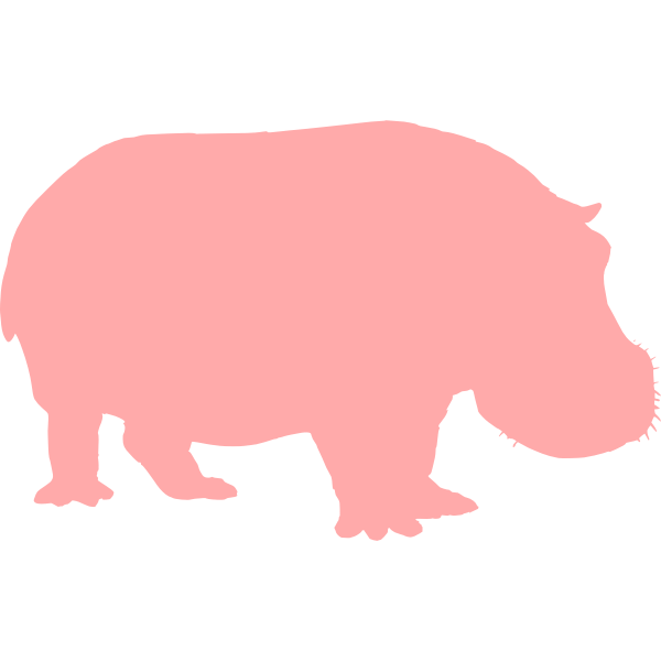 Hippo pink silhouette vector image