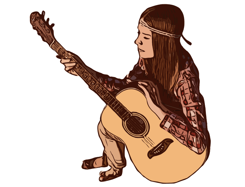 Hippy Lady with Guitar