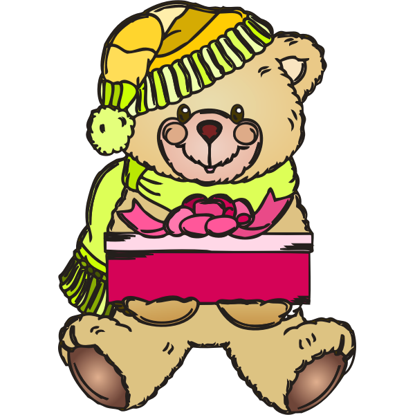 Holiday teddy bear with gift vector illustration