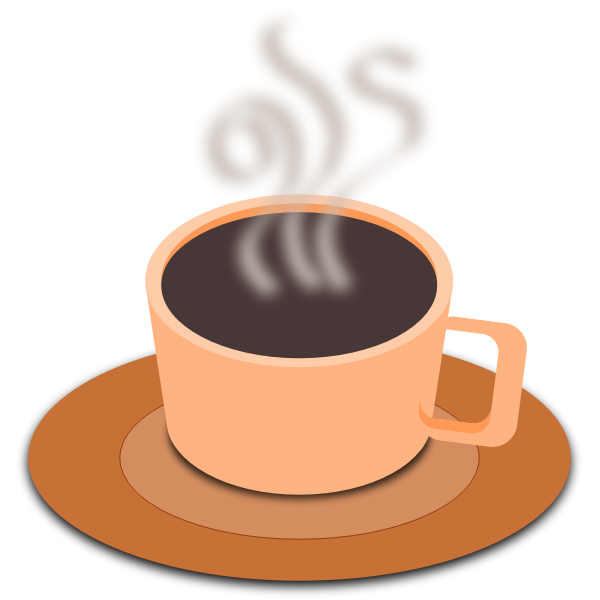 Vector clip art of orange cup of coffee with saucer