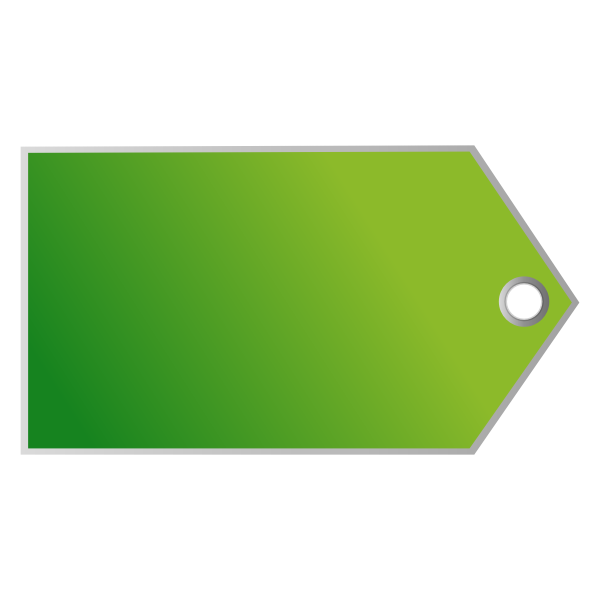 Vector clip art of horizontal green tag with a small hole for a stripe