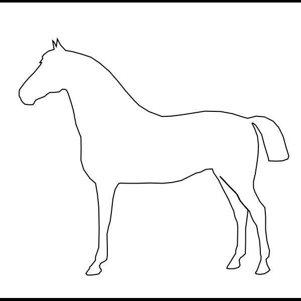 Vector illustration of standing horse outline