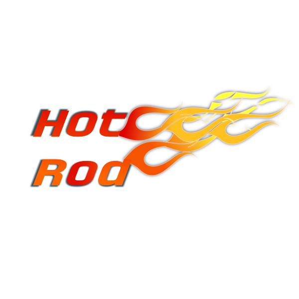 Hot rod text illustration