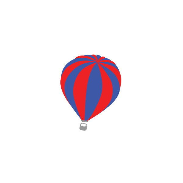 Vector image of red and blue air balloon