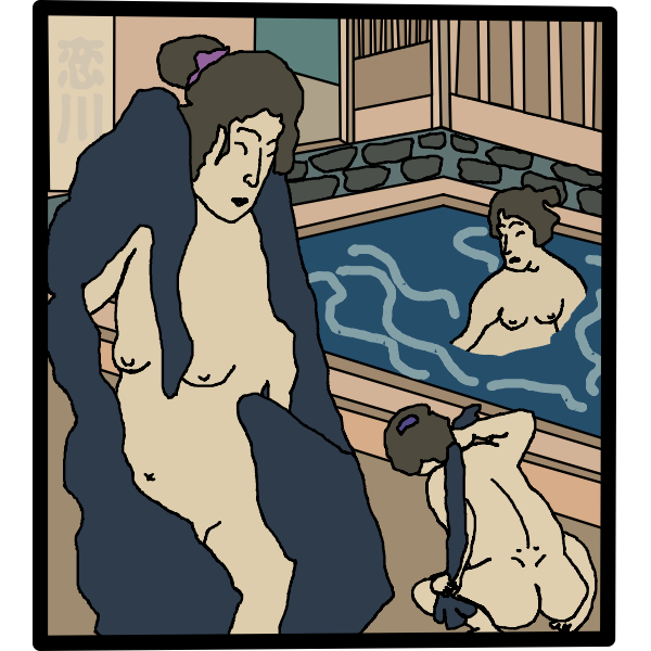 Women in onsen pool