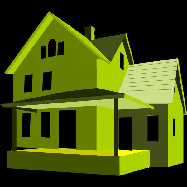 House 3D art green color