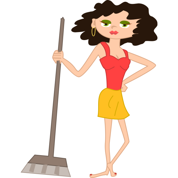 Vector image of young housewife