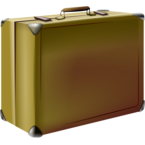 Vector illustration of brown old style suitcase