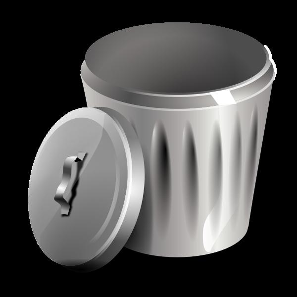 Open metallic trash can vector illustration