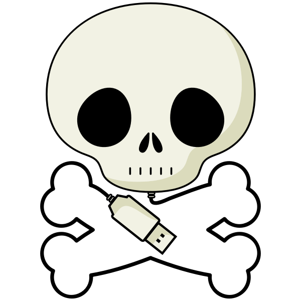Vector image of skull USB cable
