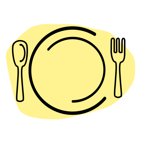 Vector illustration of dinner plate with spoon and fork