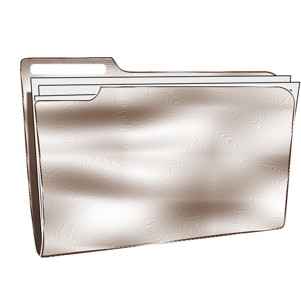 White vector drawing of plastic folder with papers