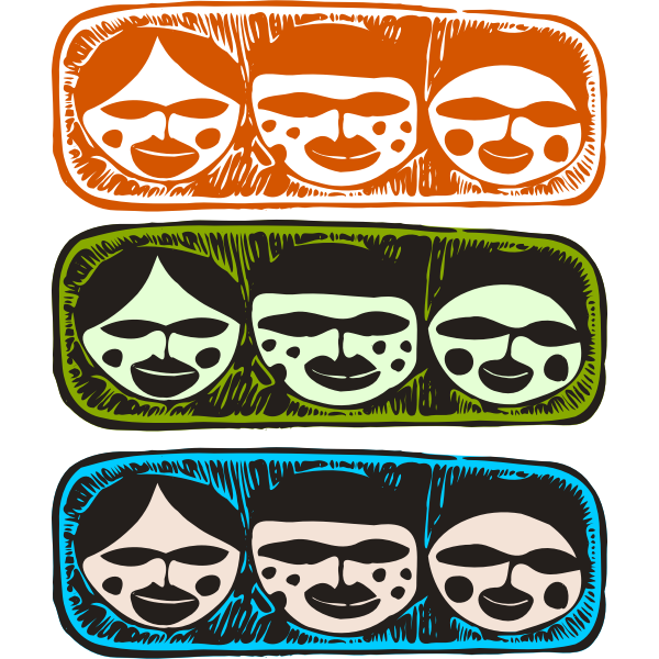 Vector illustration of tribal look three heads decorations