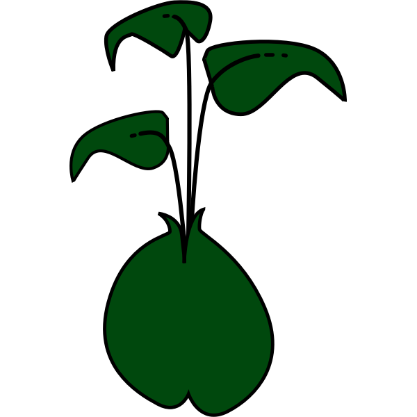 Vector clip art of plant with three dark green leaves