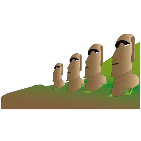 Vector drawing of Moai statues.