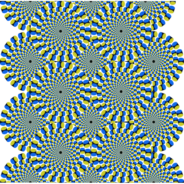 Moving colorful circles forming an optical illusion