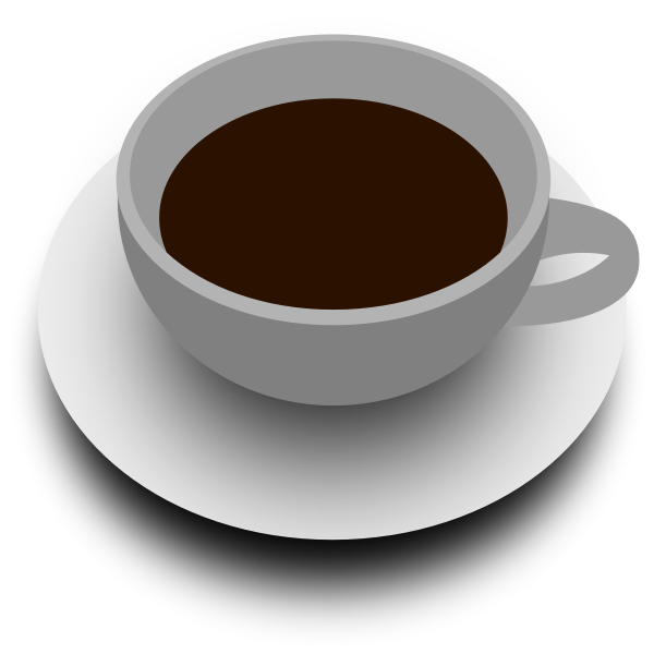 Vector illustration of cup of tea with saucer view from above