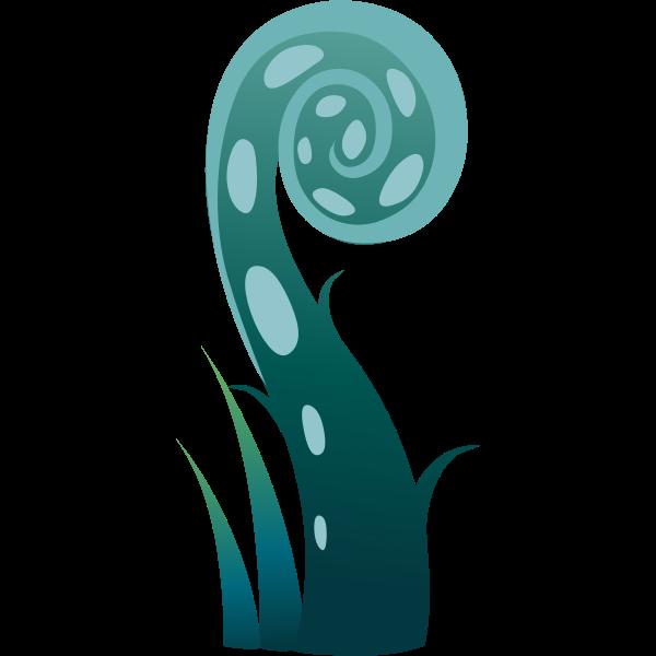 Vector graphics of aqua colored spiralling plant