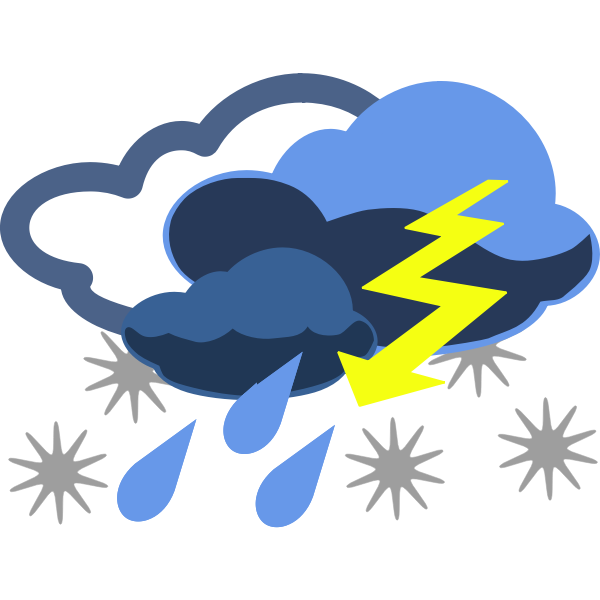 Vector graphics of rain, snow and thunder weather color map symbol